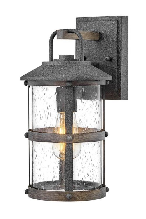 Hinkley Lighting 2680DZ Lakehouse 1 Light 15 Inch Tall Outdoor Wall Sconce in Aged Zinc-Driftwood Gray with Clear Seedy Glass