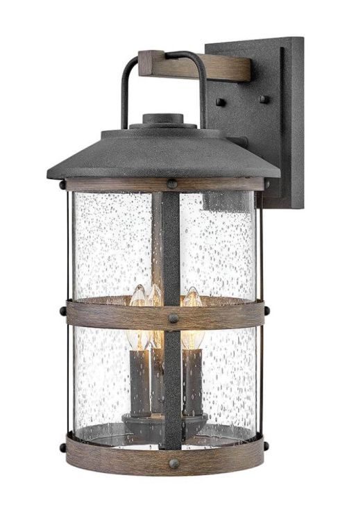Hinkley Lighting 2685DZ Lakehouse 3 Light 20 Inch Tall Outdoor Wall Sconce in Aged Zinc-Driftwood Gray with Clear Seedy Glass