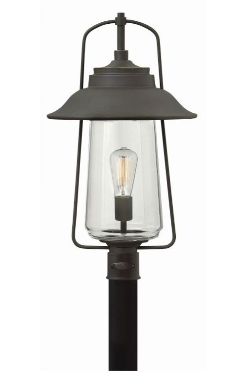 Hinkley Lighting 2861OZ Belden Place 22 Inch Tall 1 Post Light In Oil Rubbed Bronze With Clear Glass