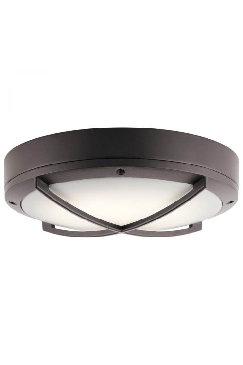 Kichler 11135AZTLED 1 Light Convertible LED Outdoor Flush Mount - Wall Sconce in Textured Architectural Bronze with White Polycarbonate