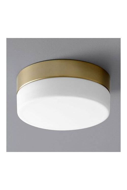 Oxygen Lighting 32-630-40 Zuri 1 Light LED Flush Mount in Aged Brass with Matte White Glass
