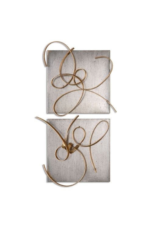 Uttermost 07071 Harmony Metal Wall Art Set of 2 In Gold Leaf